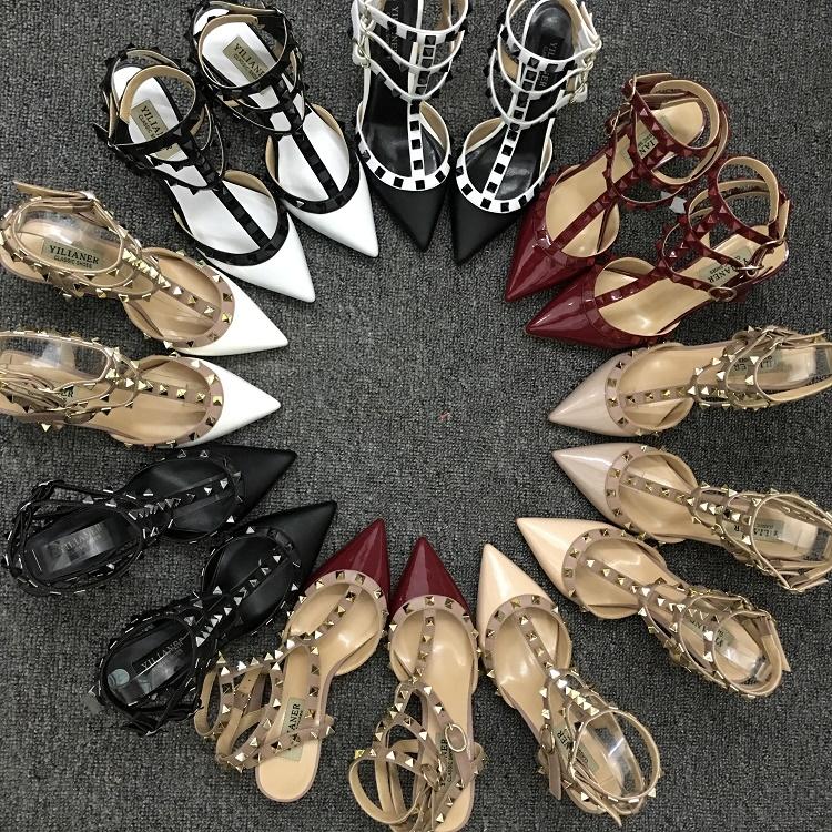 欧美铆钉高跟鞋真皮绑带性感柳丁中跟细跟小码尖头鞋女凉鞋夏婚鞋