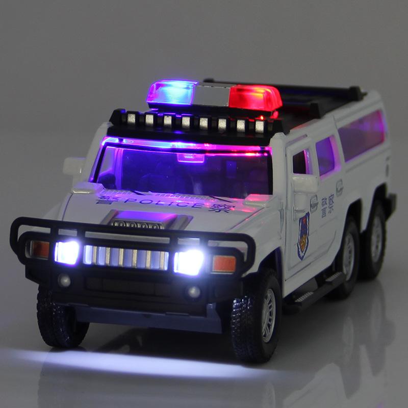悍马公安特警车合金回力小汽车儿童玩具车仿真警察越野车仿真模型