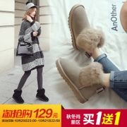 ZHR autumn and winter snow boots boots a rabbit leather boots frosted winter boots thickened short tube shoes shoes