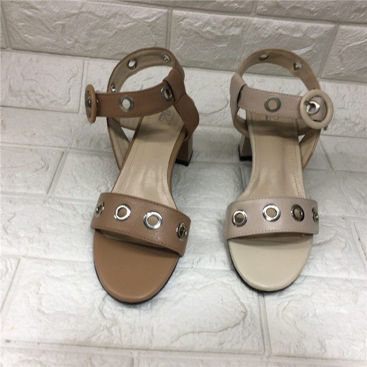 Real beat factory foreign trade cleaning women shoes summer high heels high heels open toe hollowed out leather casual one word buckle comfortable female sandals