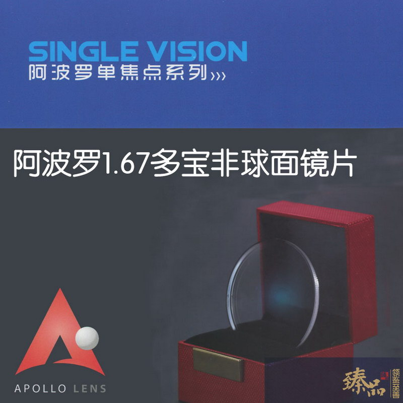 Genuine ultra-thin 1.67 Hong Kong Apollo easy clean resin film myopia lenses with aspheric single piece