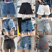 Korean Summer Shorts female all-match thin waist loose burr hole Jeans Shorts legs wide students tide