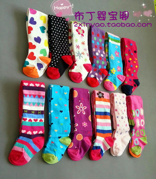 Four pairs of packages mailed multicolor into foreign female children's wear the spring and autumn period and the children's tights female baby cute baby render