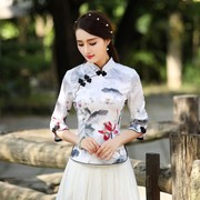 A sleeve dress shirt temperament fall fashion women's clothing slim Tang suit jacket Chinese tea daily Hanfu