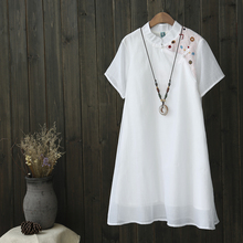 Okatani loose skirt dress embroidered retro new summer dress collar cotton tea service commuter literature