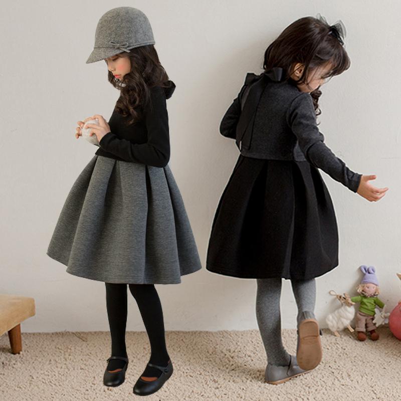 冬季童装女童韩版新款纯棉加绒加厚长袖黑色连衣裙 中大儿童裙子