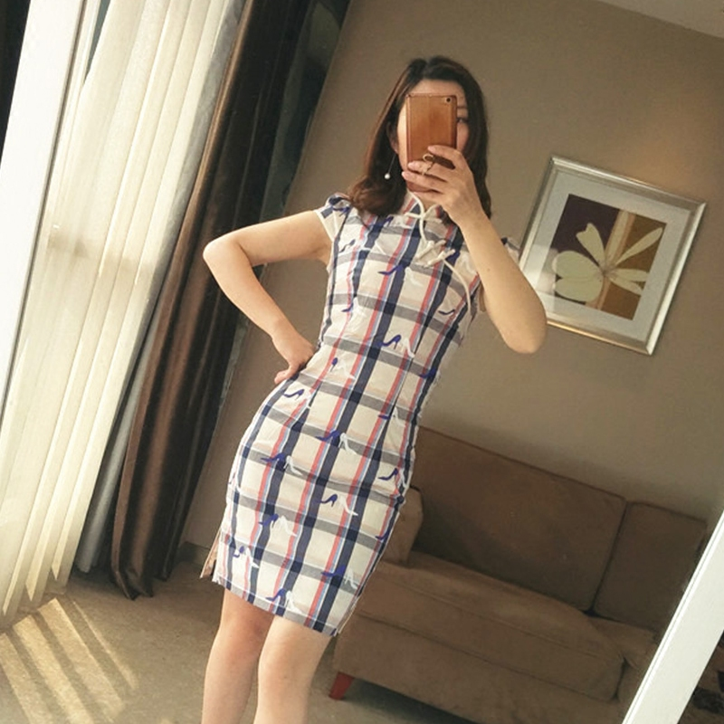 Yan deeply the likelihood of 10353 grid qipao dress summer wear daily student because of the republic of China to meet you with short sleeves