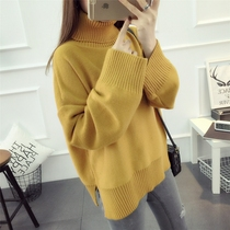 Winter sweaters cropped Turtleneck Sweater coat plus size ladies fat mm Korean blouse top