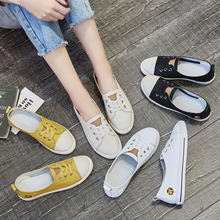 2018 spring new white shoes female Leather Korean version of the wild shallow shoes casual student flat canvas shoes