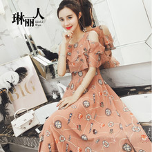 Dress 2018 summer new style floral chiffon long paragraph Korean temperament was thin super fairy harness dress female