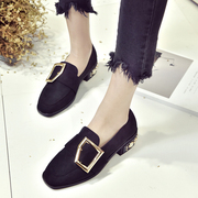 The spring of 2017 new square thick metal buckle with female shoe merchandiser pearl shoes Vintage shoes