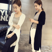 Spring 2017 new Pocket Sun wear long Cardigan in a solid color jacket female 0226