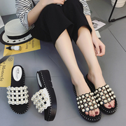 2017 Korean fashion slippers all-match new muffin bottom summer thick soled shoes Pearl Beaded word drag
