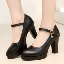 High-heeled waterproof platform shoes cheongsam black model single shoes thick with leather large size professional work shoes walking shoes women