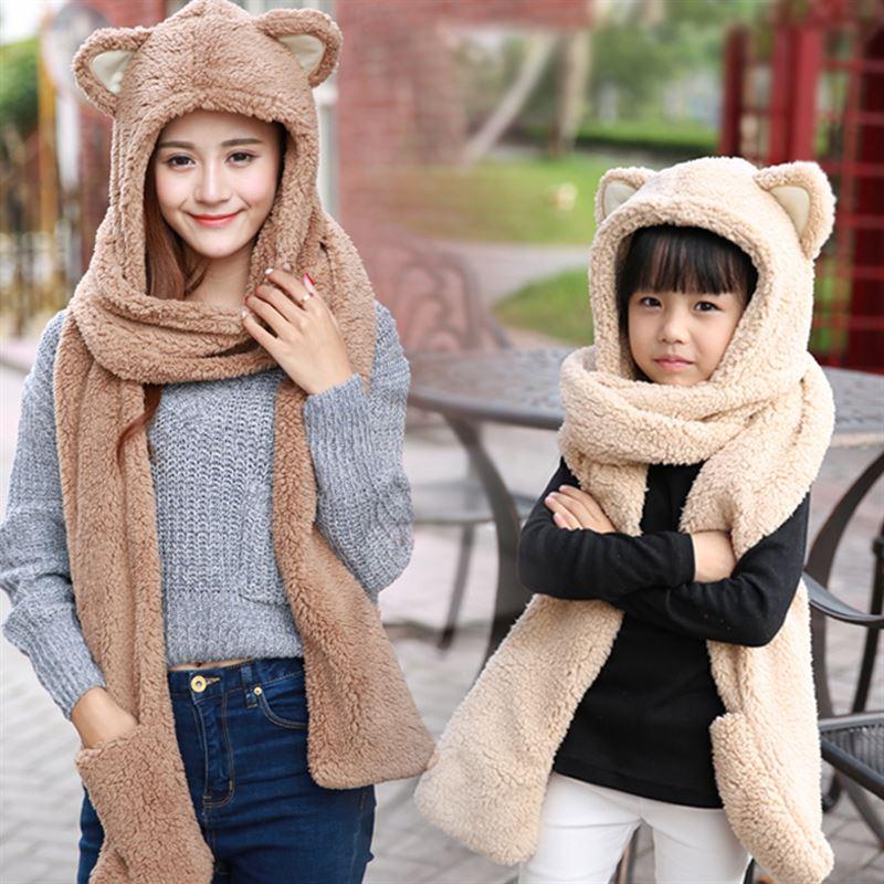 防冻围脖带帽成人冬季甜美保暖卡通全套连体韩版可爱手套帽子一体