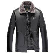 A middle-aged man during the spring and autumn winter fur collar jacket with fur cashmere thickened in elderly father PU leather