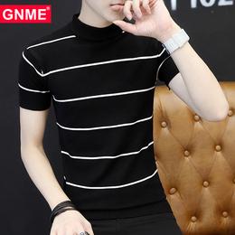 冬季韩版条纹短袖男士中高领毛衣夏季半袖修身针织线衣打底T恤潮