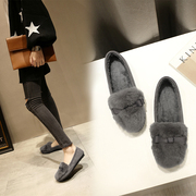 Korean winter sweet bowknot hair cotton leather shoes plus cashmere Doug flat shoes scoop Maomao shoes women shoe tide