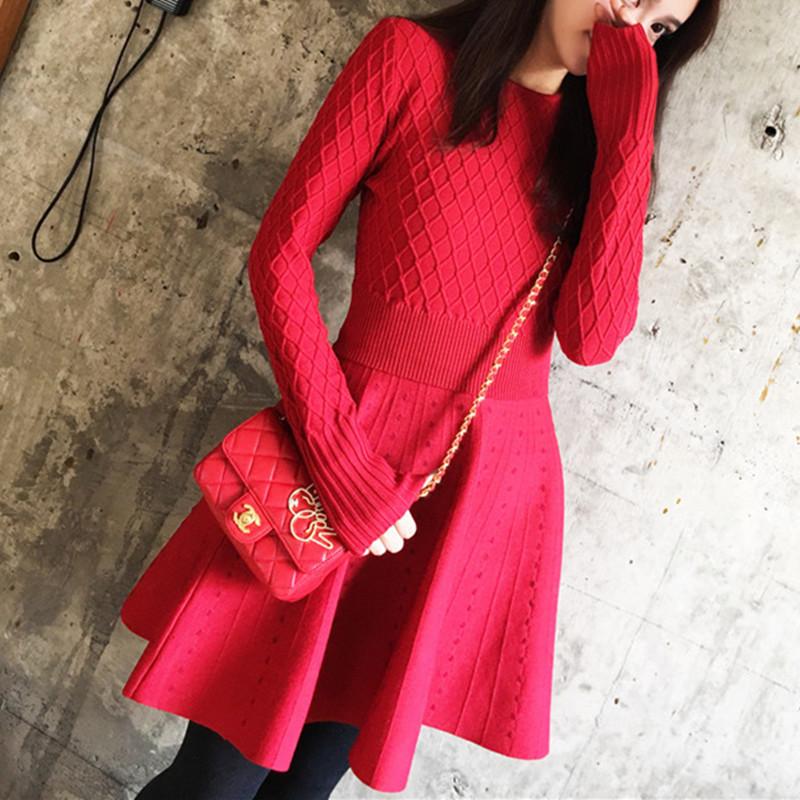 2017秋冬新款韩版女装礼服小红裙气质显瘦毛衣时尚针织红色连衣裙