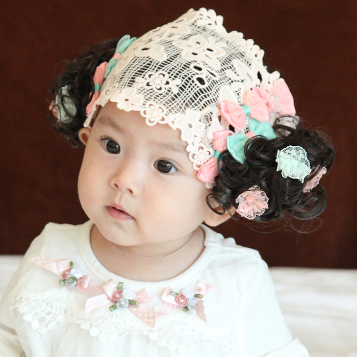 Korean baby infant hair hair band with a flower head hairpin flower girl dress accessories with happiness