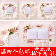 Four full shipping switch sticker set switch fabric lace fabric wall switch socket with protective cover