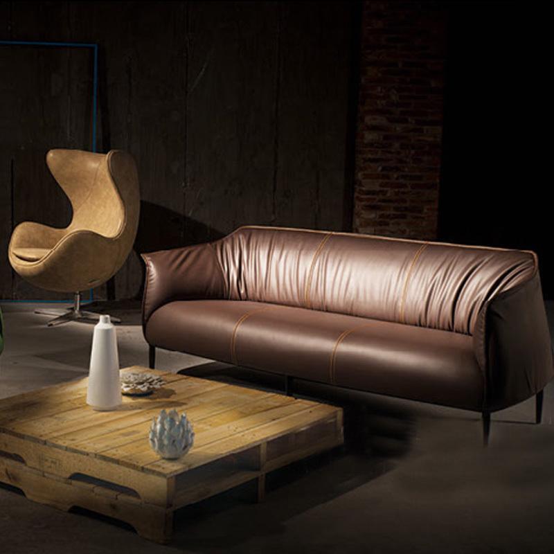 木野家具 高档 复古 办公室沙发  北欧宜家三人办公沙发组合