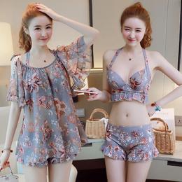 泳衣女三件套韩国温泉小香风比基尼分体裙式平角保守小胸聚拢泳装