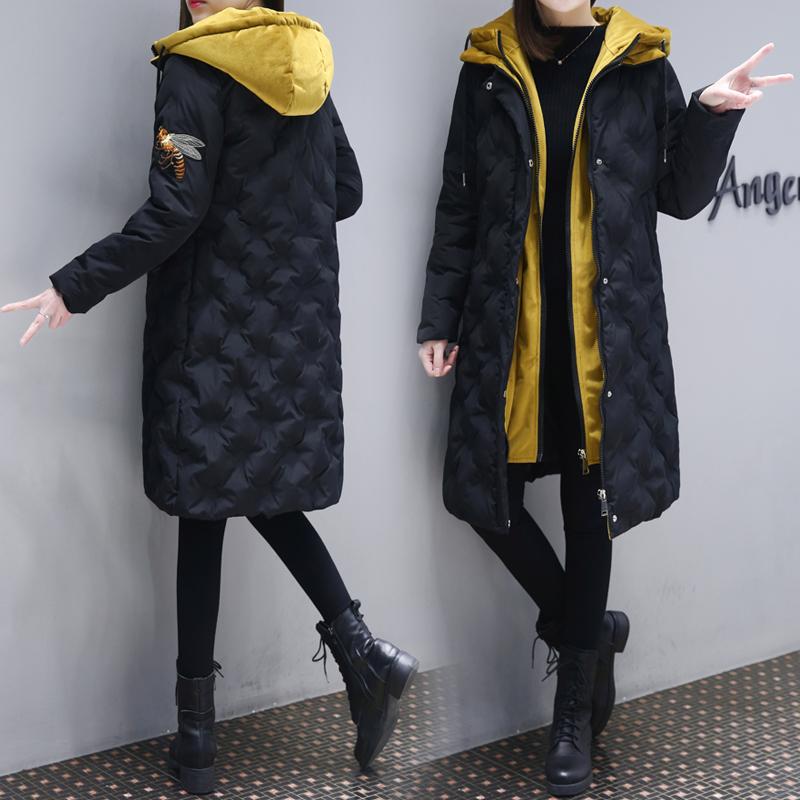 欧洲站2017冬季新款韩版时尚小蜜蜂棉衣中长款过膝羽绒棉服外套女