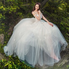 Wedding dress, 2017 new style brigade shoot simple Department of small tail light wedding gauze, word, shoulder, self-cultivation, neat big yards summer