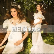 Photo studio 2017 theme clothing swan pregnant women dress fashion baring big fan exhibition new mommy