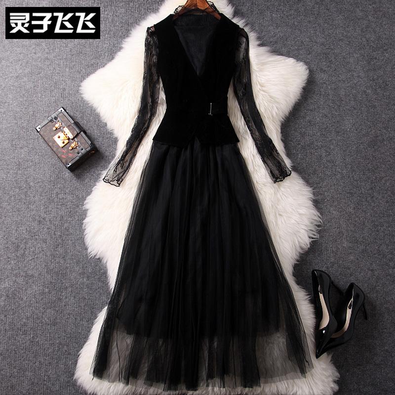秋冬季黑色立领镂空蕾丝衫丝绒马甲网纱裙子两件套装长裙连衣裙女