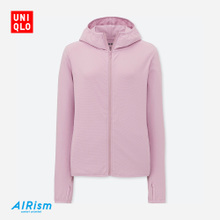 Womens AIRism mesh zipper hooded sports cardigan (long sleeve) 404086 Uniqlo UNIQLO