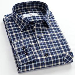 春秋季纯棉格子衬衫男长袖中年爸爸装商务休闲中老年免烫衬衣寸衫