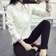 A long sleeved shirt in spring and Autumn New Korean all-match slim size white cotton shirt 'thin coat tide