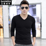 Long-sleeved t-shirt male modal V-neck solid color Slim warm plus cashmere thick winter clothes primer shirt T-shirt
