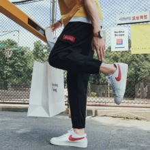 Summer thin men's casual pants Korean version of the trend of overalls tide brand loose ins hip-hop feet nine pants