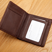 LAN blue leather men's Leather Wallet high-end men's Leather Wallet short suit small wallet card number