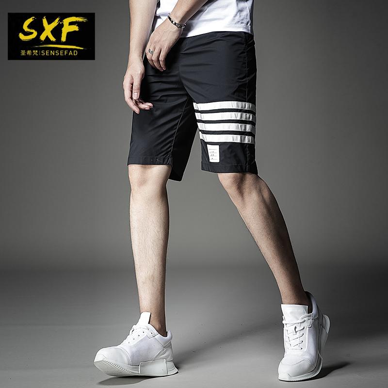 SXF圣希梵短裤男 2019夏季新款条纹修身运动沙滩裤子休闲五分裤潮