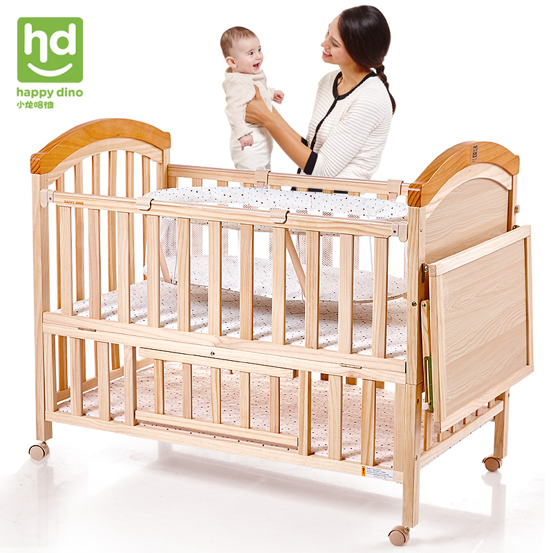 Good boy, Xiao Er ha, that baby bed, solid wood without lacquer, can lengthen children's bed with cradle, mosquito net, LMY643