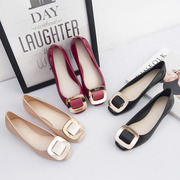 Korean version of the new female summer sandals shoes Square all-match shallow mouth buckle female shoes with flat bottom soft jelly shoes