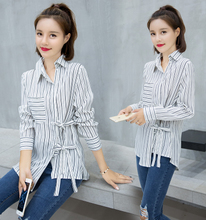 2017 autumn new blue and white vertical stripes shirt female Korean loose backing blue shirt Korean fan jacket