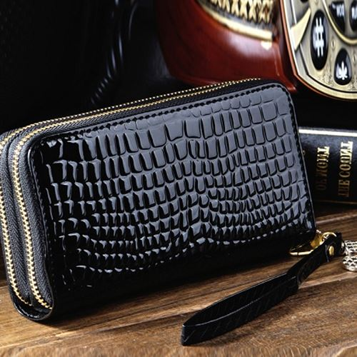 2017 new bulk Lady long purse multifunction patent leather clutch bag double zipper mobile zero
