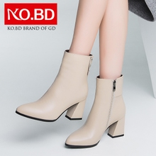 Ke Baidi 2017 new winter Europe pointed high-heeled boots leather boots with thick all-match short boots L708