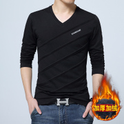 The winter men's long sleeve shirt collar with cashmere sweater V thick autumn clothes on clothes tide men's slim shirt