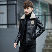 2017 winter leather men Korean version of the handsome youth PU plus velvet jacket thick fur one men's coat tide