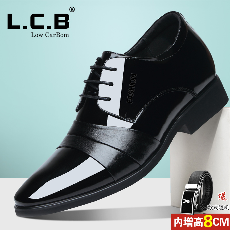 男鞋冬季加绒棉商务正装男士内增高皮鞋男8cm6cm英伦尖头结婚鞋子