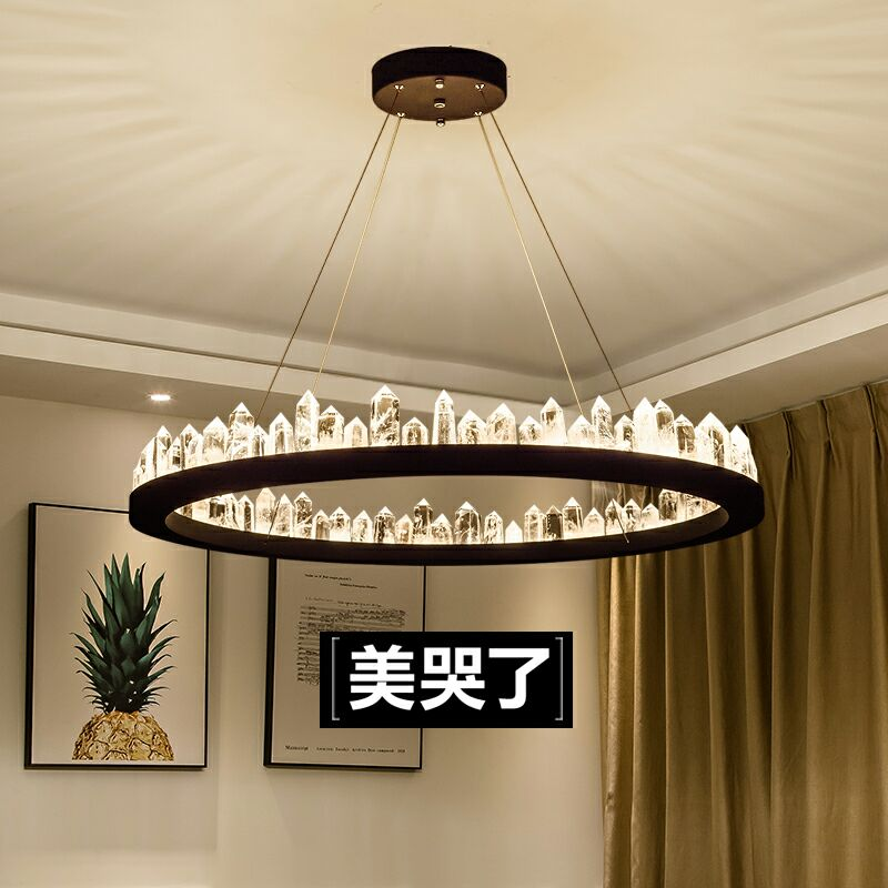 尚发北欧水晶吊灯后现代奢华天然水晶设计师环形简约客厅餐厅灯具