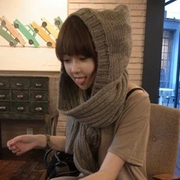 Super thick long hooded scarf knitted warm winter scarf thick warm female female hat scarf glove body