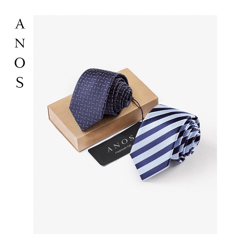 ANOS新款时尚男士正装商务条纹窄婚礼新郎伴郎结婚波点箭头型领带