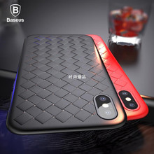 Baseus Luxury Grid Patn Case For iPhone X Cases Ultra Thi
